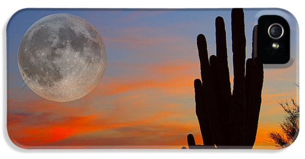 Scenic iPhone 5 Cases - Saguaro Full Moon Sunset iPhone 5 Case by James BO  Insogna