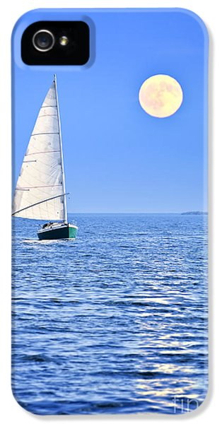 Moon iPhone 5 Cases - Sailboat at full moon iPhone 5 Case by Elena Elisseeva