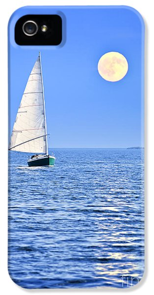 Boats iPhone 5 Cases - Sailboat at full moon iPhone 5 Case by Elena Elisseeva