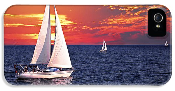 Boats iPhone 5 Cases - Sailboats at sunset iPhone 5 Case by Elena Elisseeva