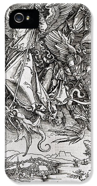 Archangel iPhone 5 Cases - Saint Michael and the Dragon iPhone 5 Case by Albrecht Durer or Duerer