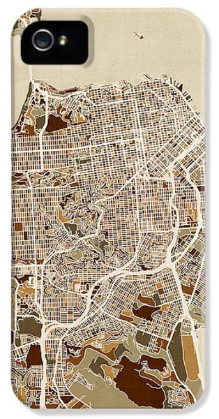 Map iPhone 5 Cases - San Francisco City Street Map iPhone 5 Case by Michael Tompsett