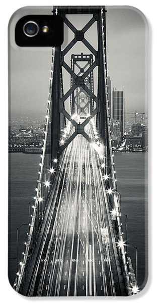 San Francisco - Oakland Bay Bridge Bw IPhone 5 / 5s Case by Adam Romanowicz