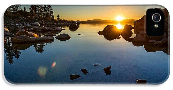 Lake iPhone 5 Cases - Sand Harbor Sunset iPhone 5 Case by Jamie Pham
