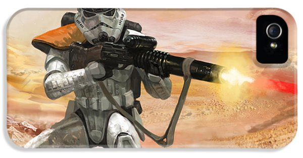 War iPhone 5 Cases - Sand Trooper - Star Wars the Card Game iPhone 5 Case by Ryan Barger