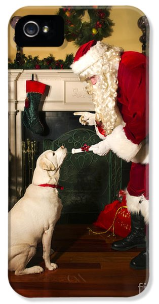 Stockings iPhone 5 Cases - Santa Giving the Dog a Gift iPhone 5 Case by Diane Diederich