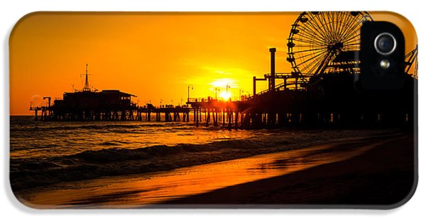 Tourism iPhone 5 Cases - Santa Monica Pier California Sunset Photo iPhone 5 Case by Paul Velgos