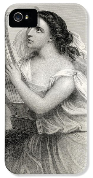 Classical iPhone 5 Cases - Sappho,illustration From World Noted Women By Mary Cowden Clarke, 1858 Engraving iPhone 5 Case by Pierre Gustave Eugene Staal