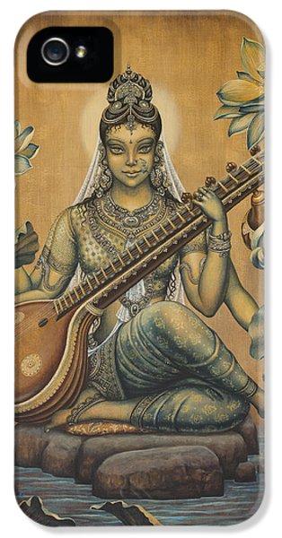 Nirvana iPhone 5 Cases - Sarasvati Shakti iPhone 5 Case by Vrindavan Das