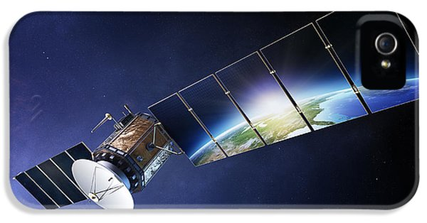 Data iPhone 5 Cases - Satellite communications with earth iPhone 5 Case by Johan Swanepoel