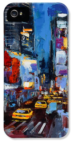 Taxi iPhone 5 Cases - Saturday Night in Times Square iPhone 5 Case by Elise Palmigiani