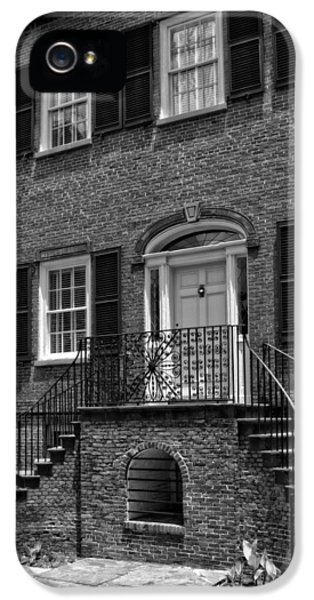 District Columbia iPhone 5 Cases - Savannahs Davenport House in Black and White iPhone 5 Case by Greg and Chrystal Mimbs