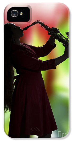 Rock And Roll Photographs Pictures iPhone 5 Cases - Saxophone Girl Musician in Window in Color 3270.02 iPhone 5 Case by M K  Miller