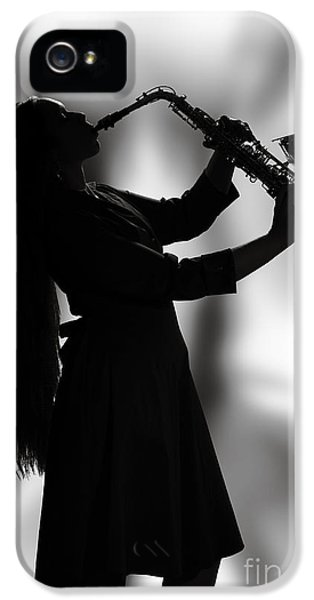 Rock And Roll Photographs Pictures iPhone 5 Cases - Saxophone Girl Musician in Window in Sepia 3270.01 iPhone 5 Case by M K  Miller