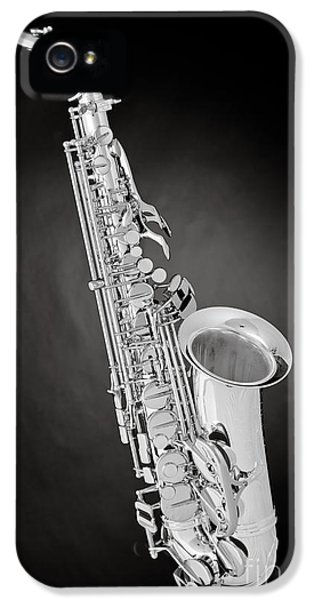 Rock And Roll Photographs Pictures iPhone 5 Cases - Saxophone Jazz Instrument Bell in Sepia 3271.01 iPhone 5 Case by M K  Miller
