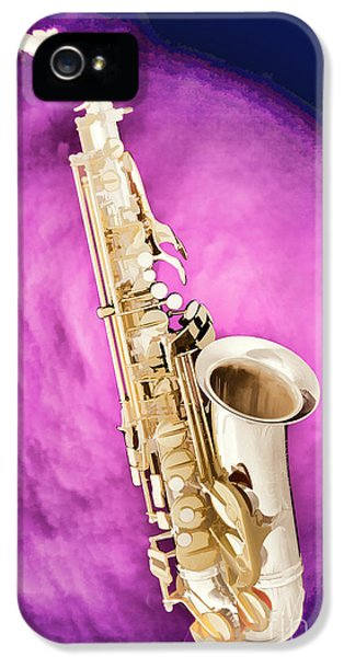 Rock And Roll Photographs Pictures iPhone 5 Cases - Saxophone Jazz Instrument Bell Painting in Color 3272.02 iPhone 5 Case by M K  Miller