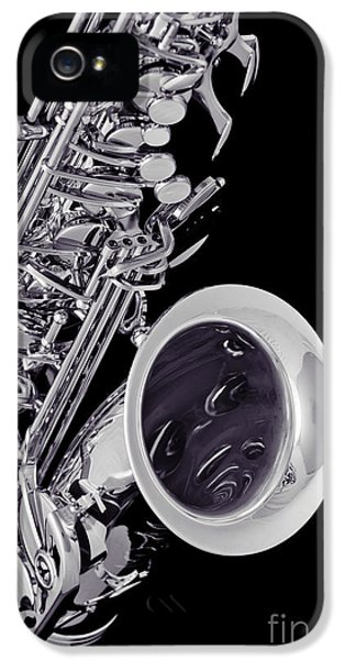 Rock And Roll Photographs Pictures iPhone 5 Cases - Saxophone Music Instrument  in Sepia 3266.01 iPhone 5 Case by M K  Miller