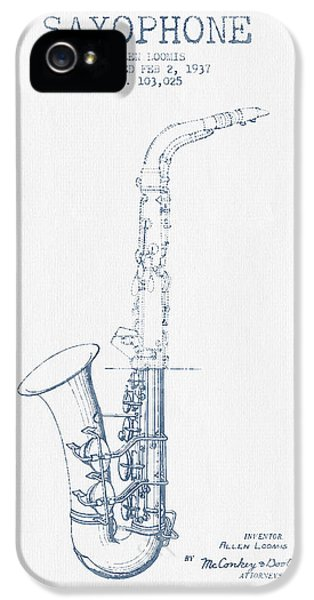 Saxophone Patent Drawing From 1937 - Blue Ink IPhone 5 / 5s Case by Aged Pixel