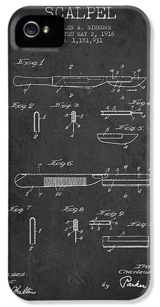Medical iPhone 5 Cases - Scalpel patent from 1916 - Dark iPhone 5 Case by Aged Pixel