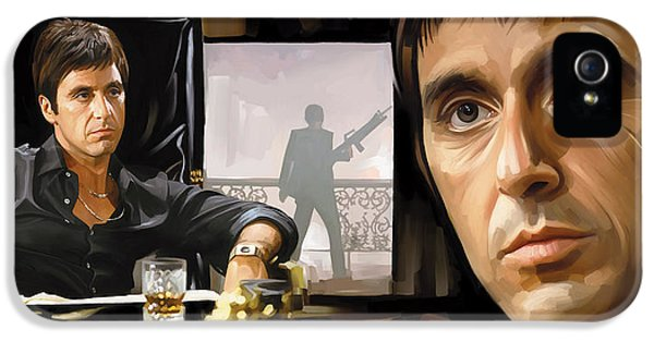 Scarface iPhone 5 Cases - Scarface Artwork 1 iPhone 5 Case by Sheraz A