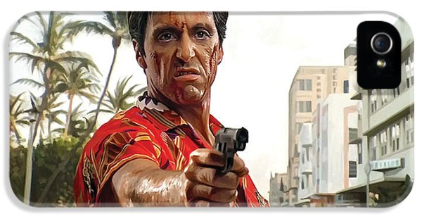 Scarface iPhone 5 Cases - Scarface Artwork 2 iPhone 5 Case by Sheraz A