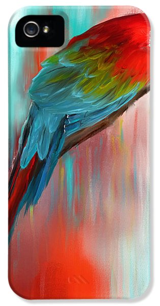 Scarlet- Red And Turquoise Art IPhone 5 / 5s Case by Lourry Legarde