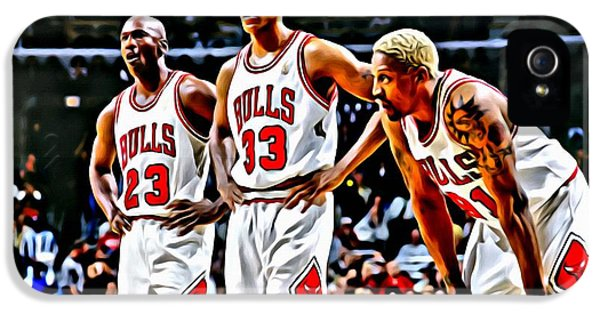 Pippen iPhone 5 Cases - Scottie Pippen with Michael Jordan and Dennis Rodman iPhone 5 Case by Florian Rodarte