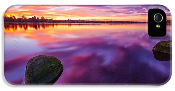 Colour Image iPhone 5 Cases - Scottish Loch at Sunset iPhone 5 Case by John Farnan