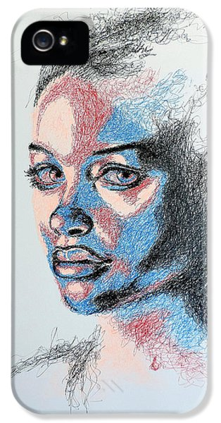 Portraits iPhone 5 Cases - Scratched  iPhone 5 Case by Fithi Abraham