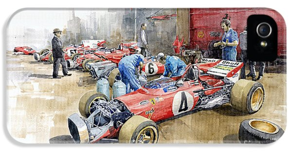 Automotive iPhone 5 Cases - Scuderia Ferrari Paddock Spanish GP 1971 Ferrari 312B2  iPhone 5 Case by Yuriy Shevchuk