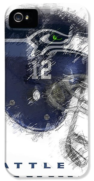 Washington iPhone 5 Cases - Seahawks 12 iPhone 5 Case by Daniel Hagerman