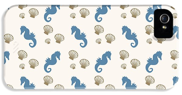 Shells iPhone 5 Cases - Seahorse and Shells Pattern iPhone 5 Case by Christina Rollo