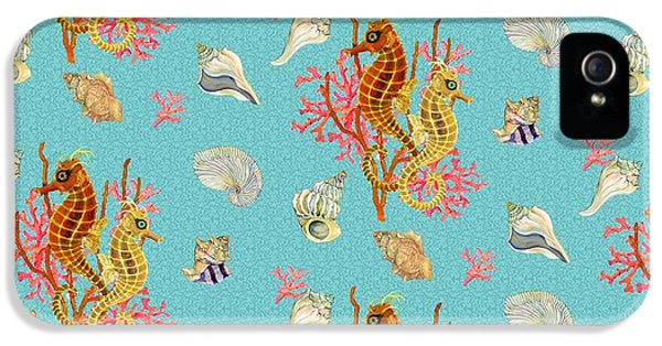 Seahorses Coral And Shells IPhone 5 / 5s Case by Kimberly McSparran