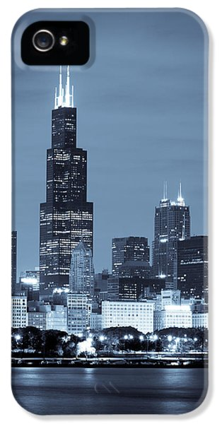 Reflection iPhone 5 Cases - Sears Tower in Blue iPhone 5 Case by Sebastian Musial