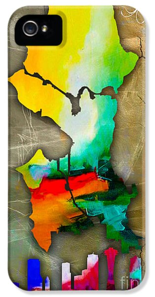 Seattle Map And Skyline Watercolor IPhone 5 / 5s Case by Marvin Blaine
