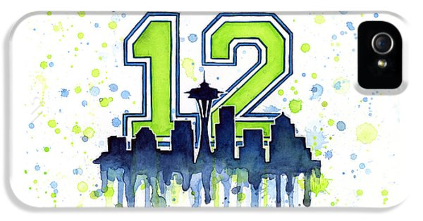 Men iPhone 5 Cases - Seattle Seahawks 12th Man Art iPhone 5 Case by Olga Shvartsur
