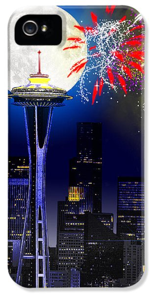 Firework iPhone 5 Cases - Seattle Skyline iPhone 5 Case by Methune Hively