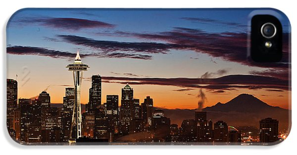 Mount Rainier iPhone 5 Cases - Seattle Sunrise iPhone 5 Case by Mike Reid