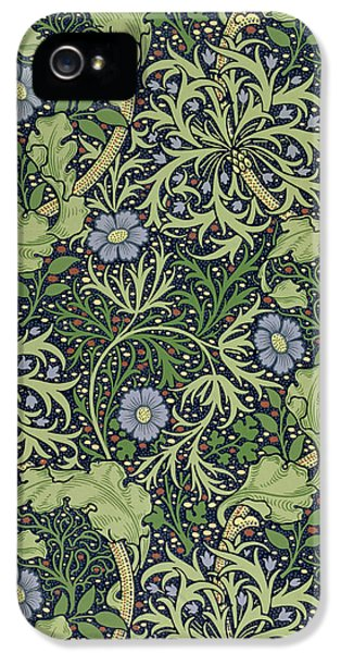 Cell iPhone 5 Cases - Seaweed wallpaper design iPhone 5 Case by William Morris