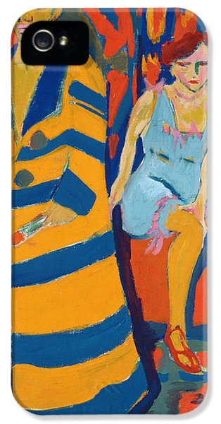 Painter iPhone 5 Cases - Self Portrait with a Model iPhone 5 Case by Ernst Ludwig Kirchner
