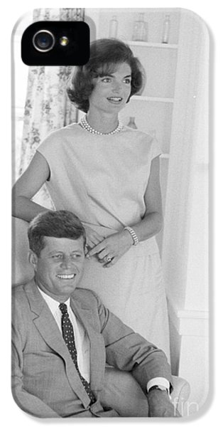 First Lady iPhone 5 Cases - Senator John F. Kennedy and Jacqueline at Hyannis Port 1959 iPhone 5 Case by The Phillip Harrington Collection