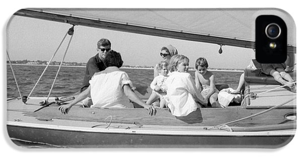 First Lady iPhone 5 Cases - Senator John F. Kennedy with Jacqueline and Children Sailing iPhone 5 Case by The Phillip Harrington Collection