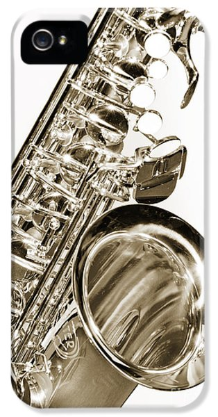 Rock And Roll Photographs Pictures iPhone 5 Cases - Sepia Tone Photograph of a Tenor Saxophone 3356.01 iPhone 5 Case by M K  Miller