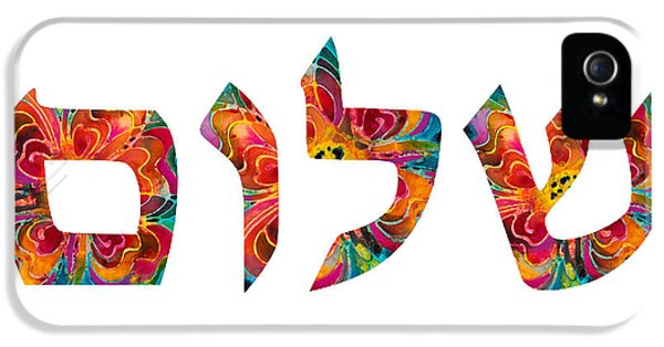 Hanukkah iPhone 5 Cases - Shalom 12 - Jewish Hebrew Peace Letters iPhone 5 Case by Sharon Cummings