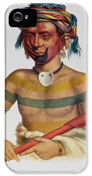 Native American Indian iPhone 5 Cases - Shau-hau-napo-tinia, An Iowa Chief, 1837, Illustration From The Indian Tribes Of North America iPhone 5 Case by Charles Bird King
