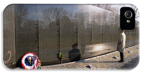 Vietnam Wall iPhone 5 Cases - Side Profile Of A Person Standing iPhone 5 Case by Panoramic Images