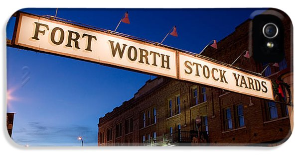 Main Street iPhone 5 Cases - Signboard Over A Road At Dusk, Fort iPhone 5 Case by Panoramic Images
