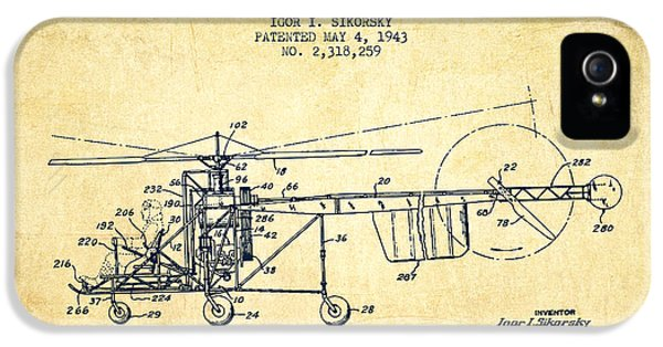 Sikorsky Helicopter Patent Drawing From 1943-vintgae IPhone 5 / 5s Case by Aged Pixel