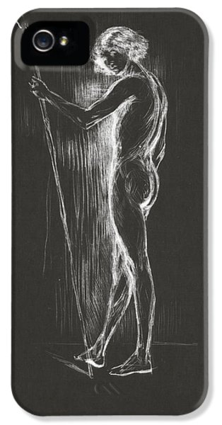 Male Nude Art iPhone 5 Cases - Silhouette iPhone 5 Case by Aged Pixel
