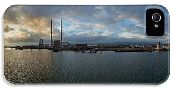 Social History iPhone 5 Cases - Silhouette Of Chimneys Of The Poolbeg iPhone 5 Case by Panoramic Images